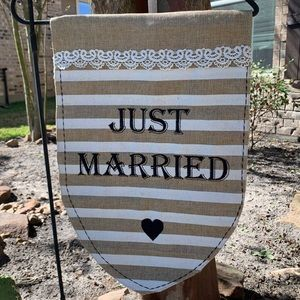 """""""Just Married"""" Burlap striped yard flag"""